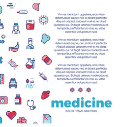 medicinal poster design with medicine line icons vector image