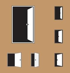 Set of black door icons vector
