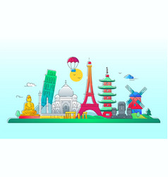 countries - line travel vector image vector image