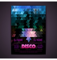 Disco poster geometric triangle background vector