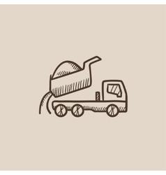 Dump truck sketch icon vector image vector image