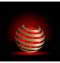 Gold spiral with red light balls background vector image vector image