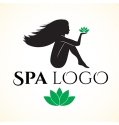 Logo for spa or beauty salon with woman vector image vector image