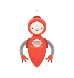 Red friendly android robot character without legs vector
