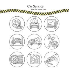 thin line pictogram symbols of car service vector image vector image
