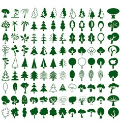 Trees icons on white vector image vector image