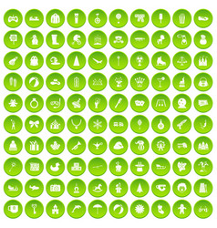 100 children icons set green circle vector image