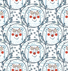 Christmas pattern with polar bears vector image