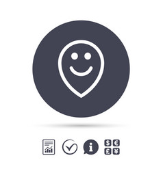 happy face map pointer symbol smile icon vector image