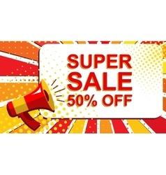 Megaphone with super sale 50 percent off vector