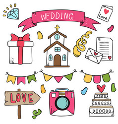 07-09-010 hand drawn party doodles wedding vector