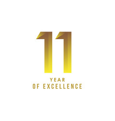 11 year excellence template design vector
