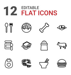 12 eat icons vector image