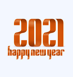 2021 happy new year red ribbon font on white vector image
