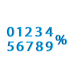 3d number with percent font number vector