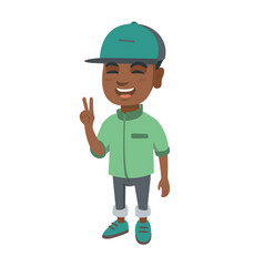 african little boy showing victory gesture vector image