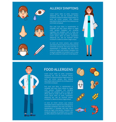 Allergy symptoms and food allergens posters vector