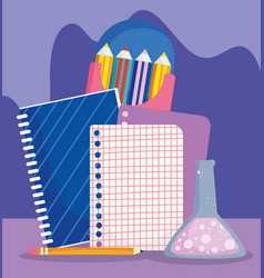 back to school notebook paper test tube and color vector image