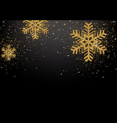 background with golden glittering snowflakes vector image