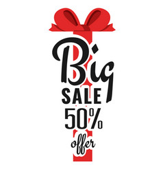 big sale 50 offer red ribbon background im vector image