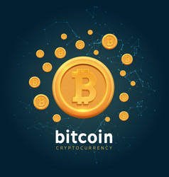 bitcoin crypto currency background bit vector image