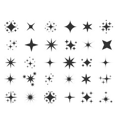 Black twinkle icons vector