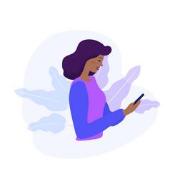 black woman looks at phone and checking social vector image