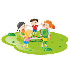 Boys and girls playing game in the park vector