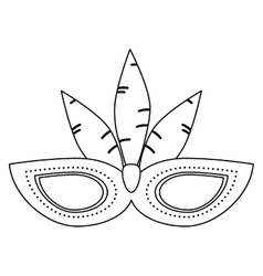 Brazil carnival mask feathers outline vector