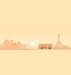 bus on a desert road scene vector image