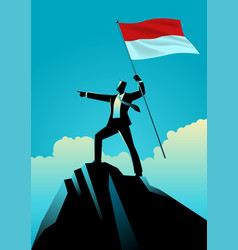 Businessman holding flag indonesia on top vector