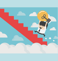 businessman holding light bulb walks up stairs vector image
