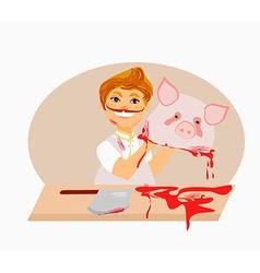 butcher - cartoon vector image
