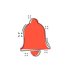 Cartoon bell icon in comic style alarm bell vector
