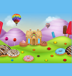 Cartoon candy land with gingerbread house vector