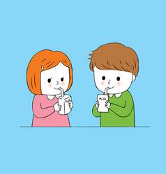cartoon cute students drink milk vector image