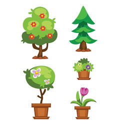 cartoon garden green tree vector image