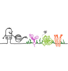 Cartoon gardener watering vegetables vector
