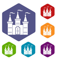castle icons set hexagon vector image