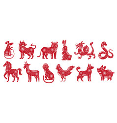 Chinese zodiac new year signs traditional china vector