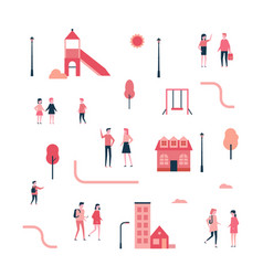 city - flat design style set isolated elements vector image
