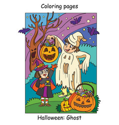 colorful halloween cute little witch and ghost vector image
