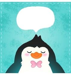 Cute cartoon penguin card vector