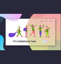 cute playful christmas elves website landing page vector image