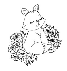 doodle cute little fox in flowers postcard vector image