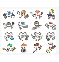 Doodle icons of professions vector