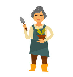 Elderly woman in apron with plant and trowel vector