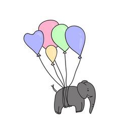 elephant flies on air balloons vector image