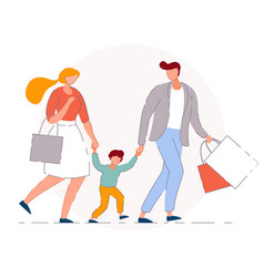 family shopping isolated mother father vector image