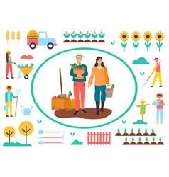 Farming man and woman harvesting farmers vector
